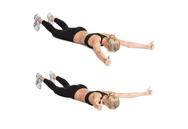 TYI: Lie on ur stomach on the floor, or balance on a physio ball, holding 3pound dumbbells in each hand. Engage ur back & lift the chest a little. Then, move arms up & out into a T position, release, move into a Y position, release & then move them into an I, arms touching out straight above ur head