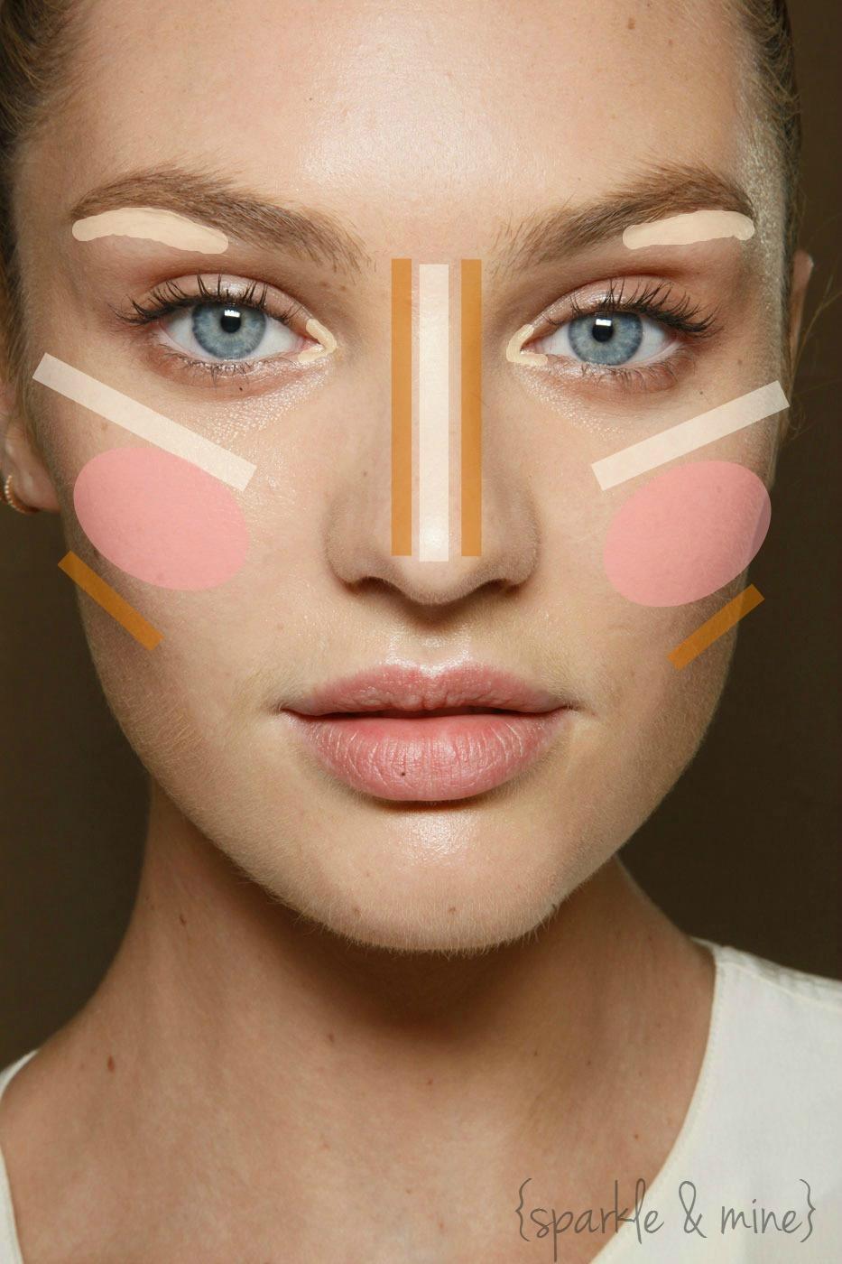 Brown: contour White: highlight Pink: blush