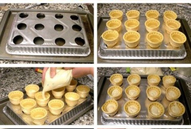 Turn an aluminum pan up side down on a normal pan and make big enough holes to fit ice cream cones. Then put your cake mix in the cones.