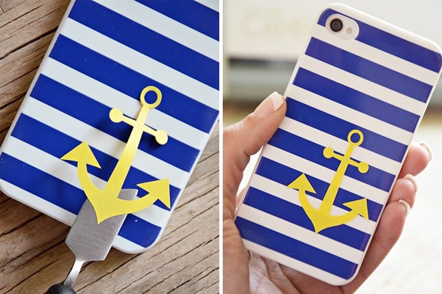1. Nautical Anchor Case: Got a thing for the life aquatic? You'll always be ready to set sail with this as your case. This tutorial shows how to use a Silhouette die-cutting printer to create an anchor, but you could also try using an xacto knife or look for vinyl decals to achieve a similar look.