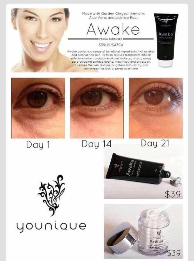 Illuminate Cleanser and Brilliant Moisturizing gel do amazing things for your skin.  They help with dark circles, wrinkles, stretch marks, eczema, etc.  Check out the result and order today. www.youniquecortney.com