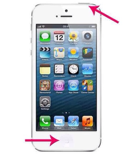 To do this on iOS hold down your top button and your home button.