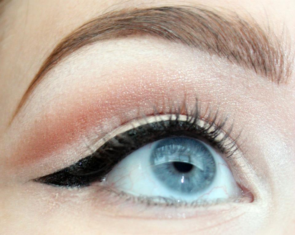 Tightlining the upper waterline. I use a gel for this, but you could really do whatever you want to do. You can skip winged liner and darken up the lash line with this method, which won't take up lid space.