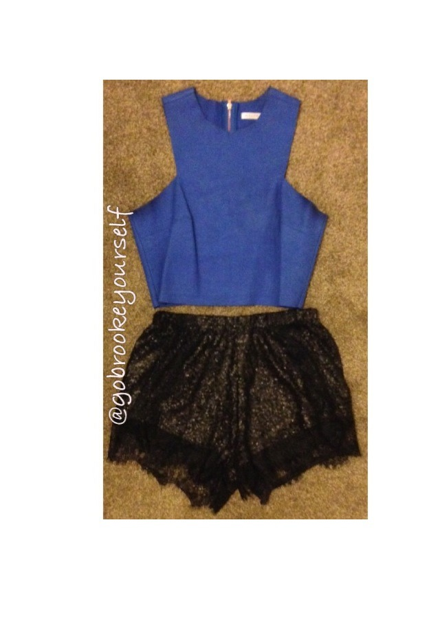 Shorts are great for a night out so you don't have to worry about accidentally flashing anyone! This black and blue combo look great!!!