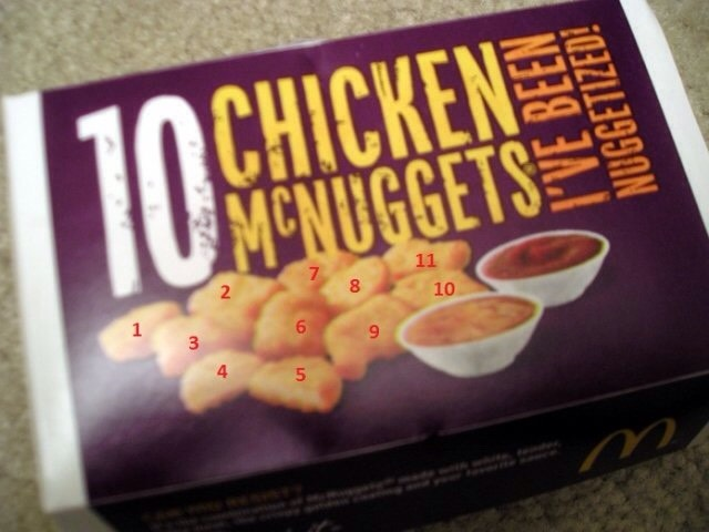 On the 10 piece chicken MCnugget box at Mcdonalds there are 11 nuggets in the picture