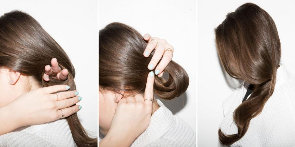 13. Make your blowout last longer than one day by rolling your hair into a looped bun and pinning it before bed.