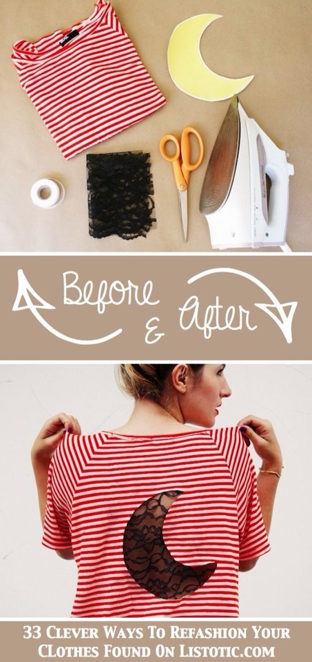 DIY Lace Insert . 😍👌 You can update just about any shirt with this method! And, guess what? There's no sewing required for this one. You can make your cut-out in just about any shape (I'm thinking a heart or star), and then use hem tape to secure the lace to the inside of your shirt.