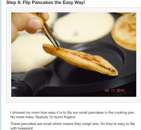 """Even Gordon Ramsey isn't going to tell you off in colourful language with this brill #tip! These pancakes are telling you """"see ya on the Flipside"""" again careful with the type of tweezer you use with the type of pan you own to cook pancakes (waffles, crepes etc) in,you don't wanna scratch your pots!"""