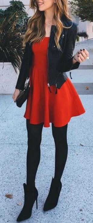 Items: 1.) Red Flowy Dress 2.) Black Leather Jacket 3.) Black Tights  4.) Black Heeled Boots