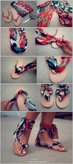 8. Make some clever, colorful sandals with leftover fabric.