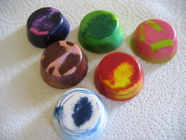 2. Recycled Chunky Crayons. Take off the paper, place the crayons in muffin tins, and melt them into a new cool shape.