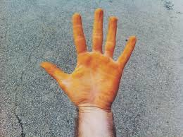 Did you palms turn orange or brown? Don't freak out, just scrub them with some whitening toothpaste! I swear it works every time for me.