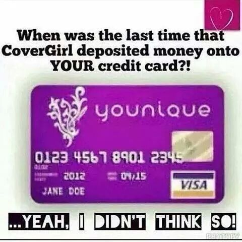 join and get a younique card so that every time you make a sale...within 3 hours, you can spend it how ever u wish!