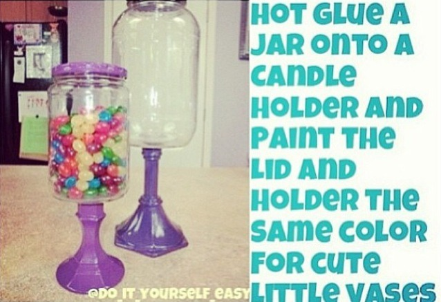 All you do is hot glue the candle holder to the jar !