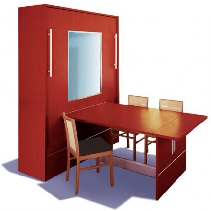 Table to Murphy Bed  Invest in this ingenious idea - a full sized work space or table that also converts into a Murphy bed.