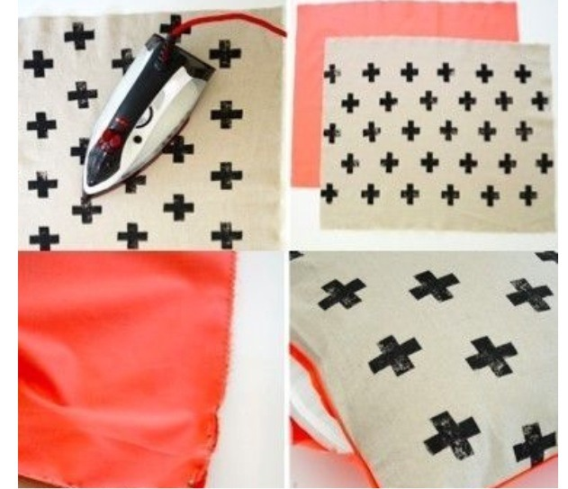 3. Sew or hot glue the two pieces of fabric together with the stamped side facedown, then iron and stuff