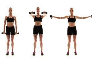 Dumbbell Front + Lateral Raise: This move will really sculpt and mold those shoulders! Make sure your arms are extended as straight as possible for the best results.