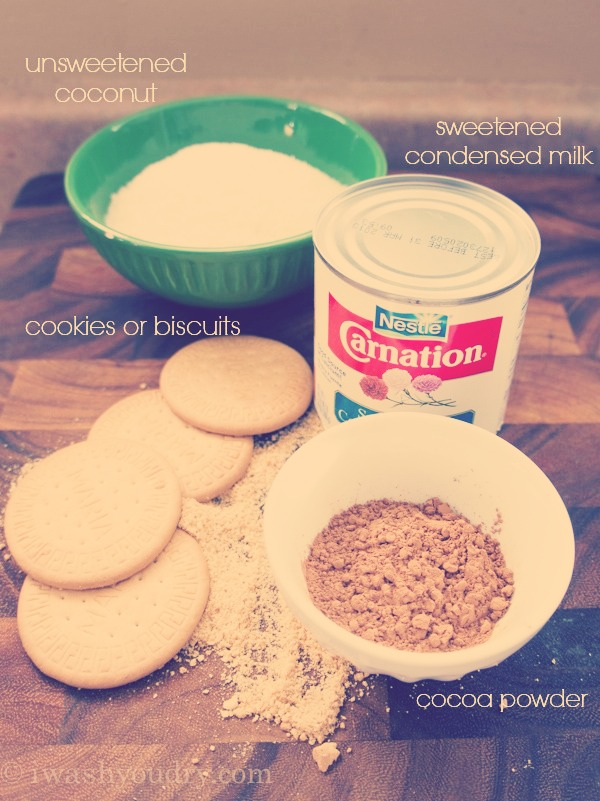 You will need:   Biscuits/Cookies (preferably digestive biscuits)  Cocoa powder  Condensed milk  Coconut sprinkles