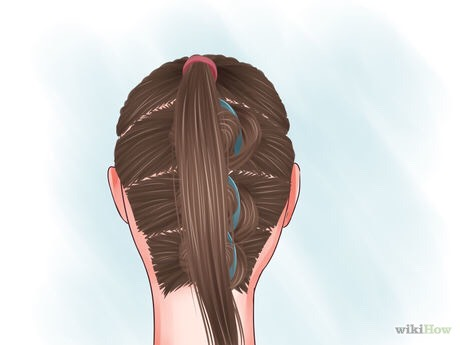 Tie the first section into a ponytail.