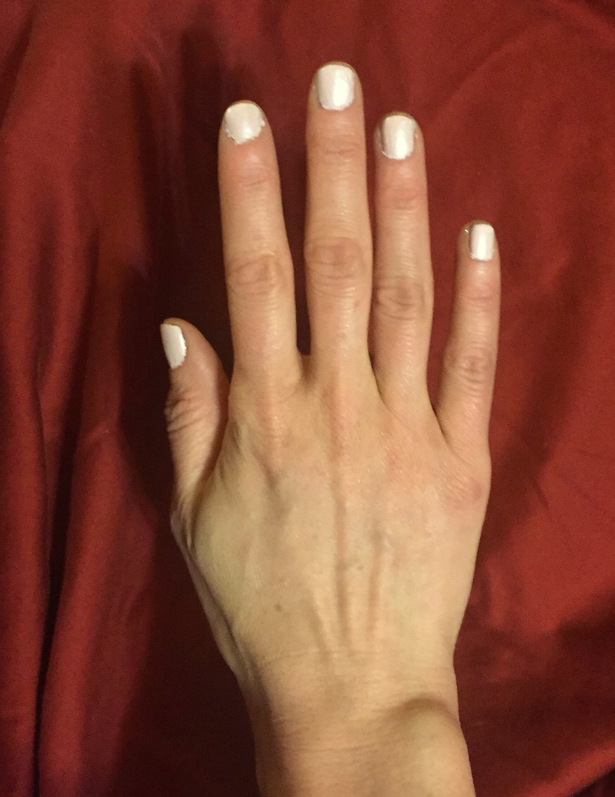 This is my hand now...THANK YOU DREAM Polish! It truly is perfection in a bottle, if you needed proof, here it is!  I am wearing 'Impeccable' with the Dream Top-Coat which is a must-have as well.