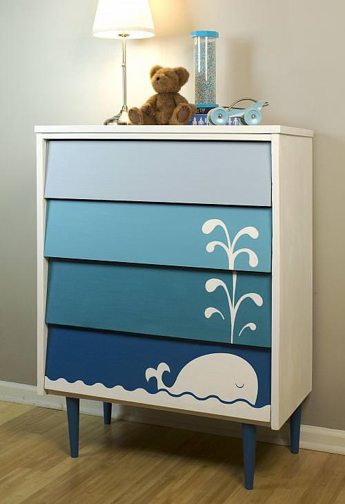 "eed to ""cute-ify"" a thrift or second hand piece of furniture for your little one? 'Decoart' has this DIY kid's ombre whale dresser tutorial so that you can have the cutest room on the block, without the cost!"