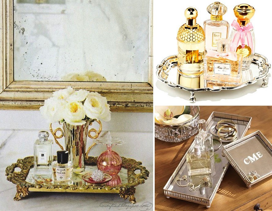 Are your perfumes messy, scattered around your room, or fallen over? Put them in a cute tray to keep them in place and looking cute. You can use a metal tray, wooden crate, plastic plate, or glass dish. You can find some cute platters at the thrift store and spray paint them.