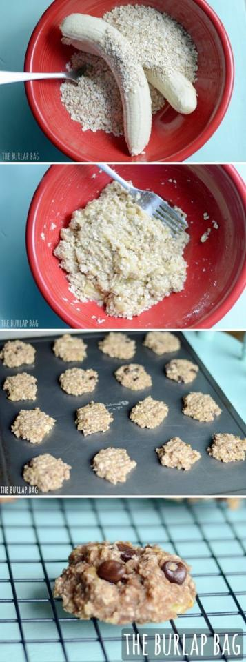 healthy three ingredient cookies - 2 large bananas, 1 cup of quick oats, and some chocolate chips baked at 350 degrees for 15 minutes.