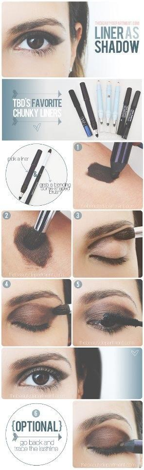8. In a pinch, learn how to use your eyeliner as eye shadow