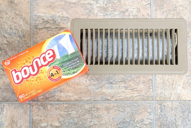 SECURE DRYER SHEETS TO THE BACK OF YOUR AC VENTS | Forgo pricey air fresheners by securing dryer sheets to the back of your A/C vents with tape or by tucking the edges beneath the diffuser. Let the air flow move the scent through your home.