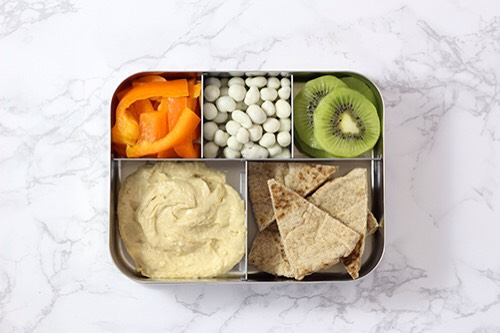 4 | Hummus Lunch Combo WhenI make this next time I'm going to use LunchBots 3 tiny containers for hummus, ranch dressing, & yogurt raisins & then fill the Bento with all kinds of delicious vegetables for dipping!  1. Hummus 2. Orange rainbow peppers 3. Kiwi 4. Pita triangles 5. Yogurt raisins