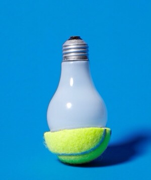 Tennis Ball as Light Bulb Remover Remove a hot bulb that's just burned out, using the other half of the ball.
