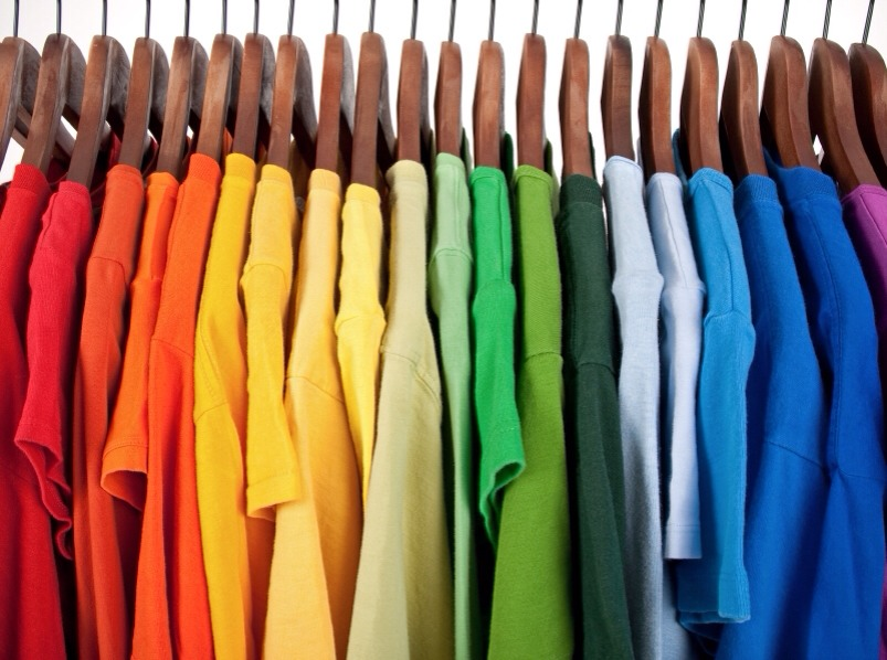 ROYGBIV always follow this pattern Red Orange Yellow Green Blue Indigo (purple) Violet (pink) I then put my tans whites grays and blacks