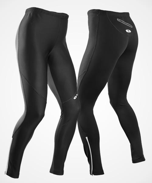 Sugoi Firewall 220 Tight  Most tights we've seen are made of one type of fabric. This pair boasts two different technologies—a wind-resistant, stretchy fabric on the front, and a warmer fabric on the back so you get protection and warmth. You can carry cash and keys in the back zip pocket .