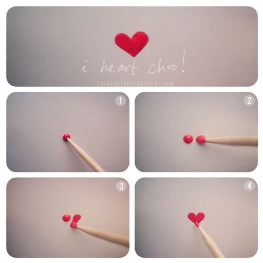 16. Easily paint a heart with a toothpick.
