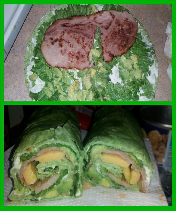 any wrap add cream cheese avacado ham ( i cooked the ham) i added lettuce and cheese