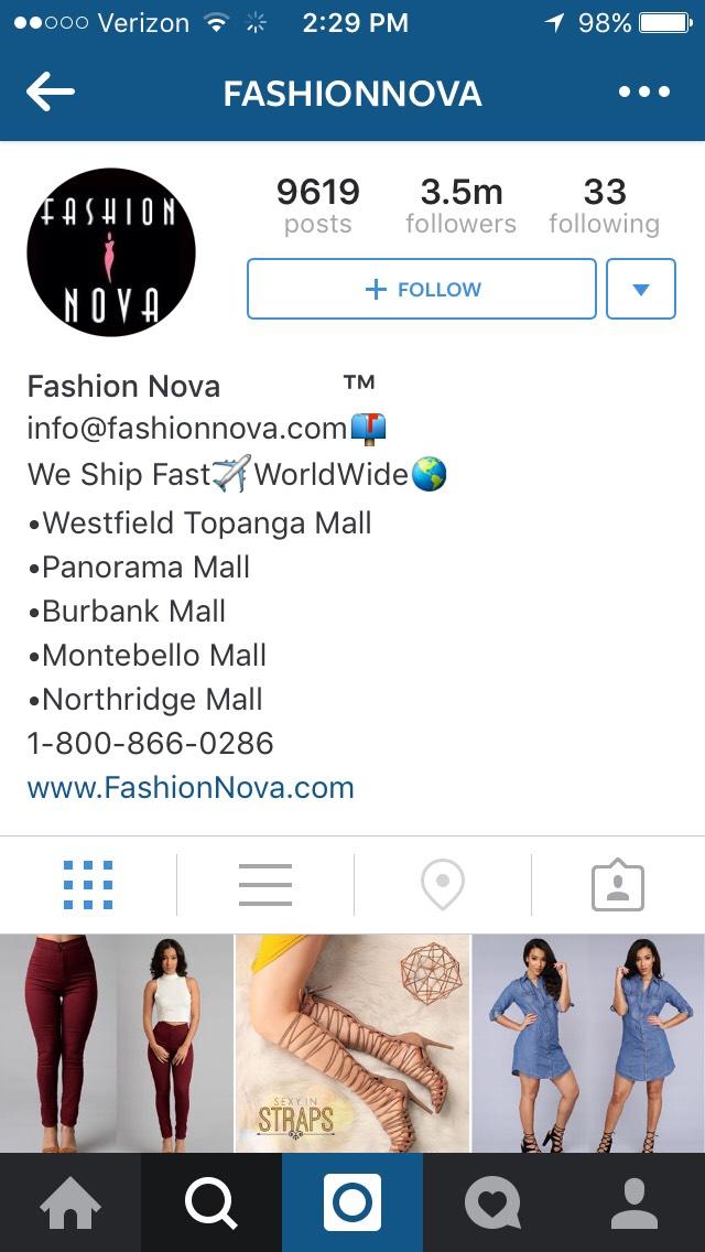 Website to shop @  www.FashionNova.com
