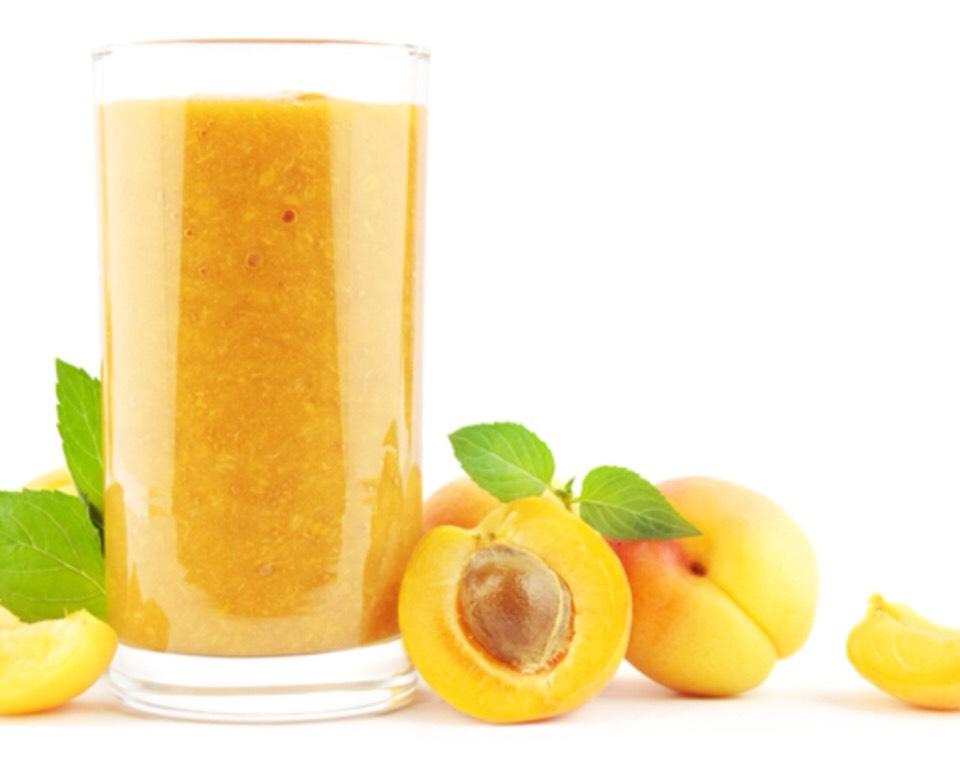 Apricot Mango Madness   - Serves 2  6 apricots, peeled, pitted, and chopped  2 ripe mangoes, 10 to 20 ounces each, peeled and chopped 4 tsp fresh lemon juice  1 c reduced fat mil or plain low fat yogurt  1/4 vanilla extract  8 ice cubes Lemon peel twists (optional as garnish)