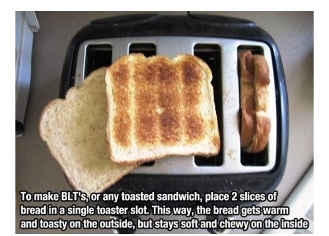Toast 2 bread pieces together to make a sandwich..