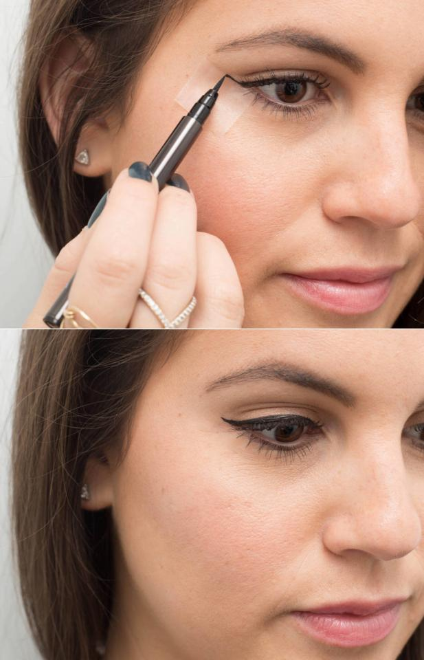 22. Use clear tape as a no-fail cat-eye guide. Place the edge of the tape in line with your bottom lash line and angle the top toward the end of your eyebrow.