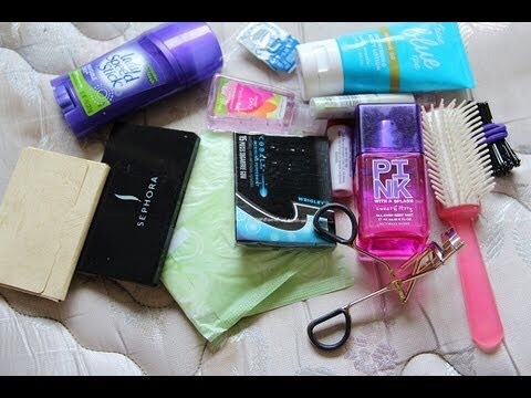 What you'll need -Pads tampons and liners -Gum -A small snack -Hair ties and bobby pins -Perfume -Deoderant -Headphones -Phone charger -Hand sanitizer -Mini hair brush