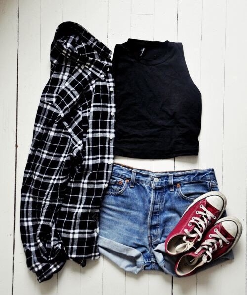 •Black plaid shirt •Black crop top •High waisted shorts •Maroon/Burgundy converse