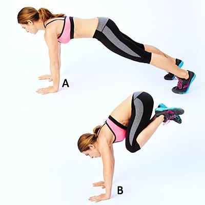 """Donkey kick  Start in the """"up"""" part of a push-up, with hands under shoulders and abs tight (A). Bend knees slightly, shift weight onto hands and kick heels up toward butt (B). Then use core to straighten legs back; land softly on balls of feet in push-up position. Repeat."""
