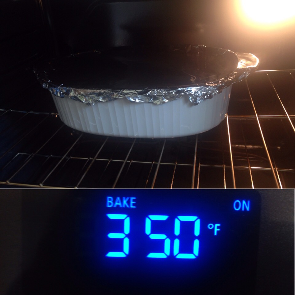 Cover with aluminum foil and cook at 350 degrees for 35-40 minutes, take aluminum foil off for last 5 minutes.