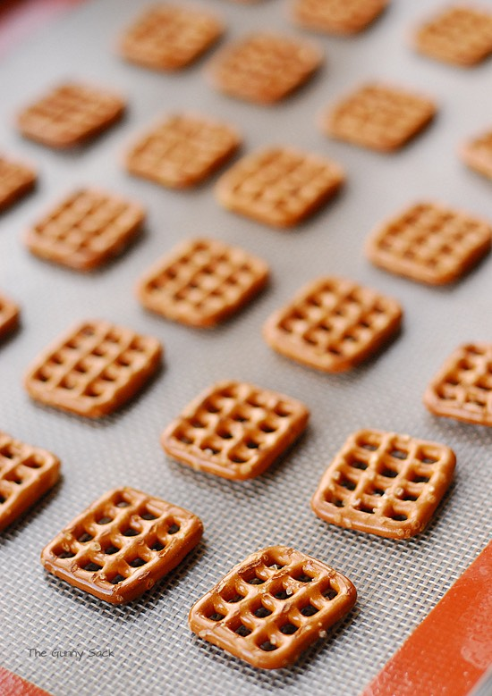 Your going to need some mini square pretzels.... Any brand it doesn't make a difference.