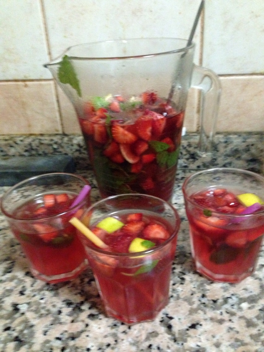 Directions: 1. In a chilled glass (about 10-12 ounces), muddle the simple syrup, strawberries and mint leaves together with the back of a spoon or muddler. Crush the strawberries and mint leaves well. 2. Squeeze the juice from the lime into the glass, add the rum and stir well. Fill glass with ice