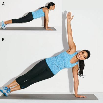 1. Rotating Side Plank  Start in a push-up position. Balance on your right hand and extend your left arm toward the ceiling. Place your left foot on top of your right, resting on the edges of your feet. Hold for 1 to 2 seconds. Roll back to center, then balance on your left arm so that you're in side plank facing the opposite direction. Hold for 1 to 2 seconds; roll back to center. That's one rep.