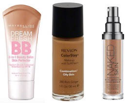 """""""NORMAL""""   Since you don't have to worry about any scarring, excess oil, or dryness, you may want to opt for a lighter coverage foundation. BB Creams & other tinted moisturizers are perfect!  PICTURED   📷  Maybelline Dream Fresh BB Cream,$9 Revlon ColorStay,$12 Urban DecayNaked Skin,$40"""