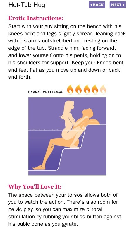 new sex positions of the week from hot tubs to the bedroom