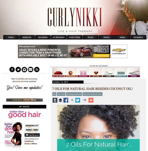 "1️⃣5️⃣Curly Nikki: ""does an extremely extensive job of covering beauty for girls with natural hair. For products to use to advice from Nikki's own experience, this is your go-to guide if you're rocking your own texture."""