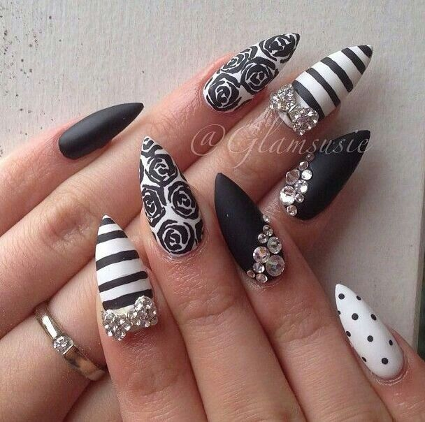 Nail Diamonds Designs Gallery Art And Design Ideas - Black Nail Designs With Diamonds Best Nail Designs 2018